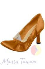 Туфли женский стандарт ТМ Clubdance 81102a из бежевого сатина, Висота каблука: к.5, Розмір взуття: р. 22 (34,5)