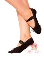 Балетки для танцев тканевые с кожаной вставкой черные, Розмір взуття: р. 29