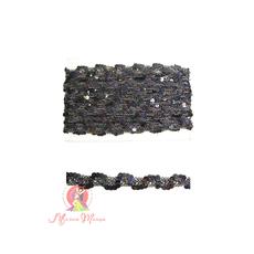 Лента пайеточная 1,5 см черная, фото 1