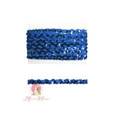 Лента пайеточная 1,5 см синяя, фото 1