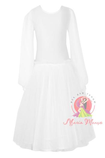 Бейсик (рейтинговое платье) для выступлений белый