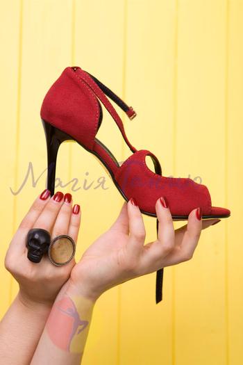 Туфли для кизомбы Рита красная замша, фото 2