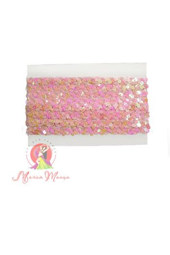 Лента пайеточна 1,5 см розовая, фото 2