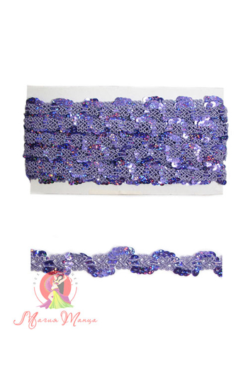 Стрічка пайєточна 1,5 см фіолетова, фото 1