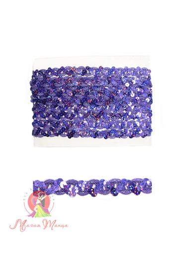 Стрічка пайєточна 1,5 см фіолетова, фото 2