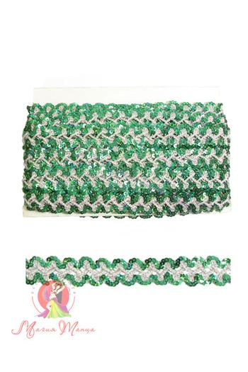 Стрічка пайєточна 1,5 см зелена, фото 2