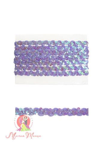 Стрічка пайєточна 1,5 см фіолетова, фото 5