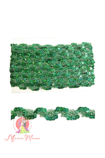 Стрічка пайєточна 1,5 см зелена, фото 1