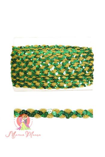 Стрічка пайєточна 1,5 см зелена, фото 3