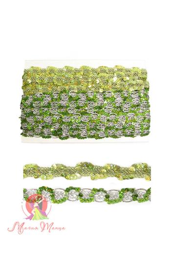 Стрічка пайєточна 1,5 см зелена, фото 4