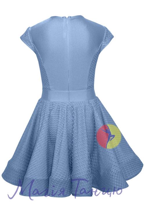 Бейсик (рейтинговое платье для танцев) Аврора с сеткой, Размер: р. 134, Цвет: Голубий,фото 2