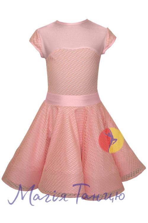 Бейсик (рейтинговое платье для танцев) Аврора с сеткой, Размер: р. 134, Цвет: Голубий,фото 3