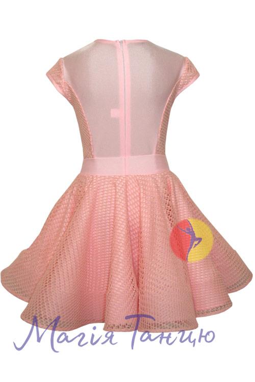 Бейсик (рейтинговое платье для танцев) Аврора с сеткой, Размер: р. 134, Цвет: Голубий,фото 4