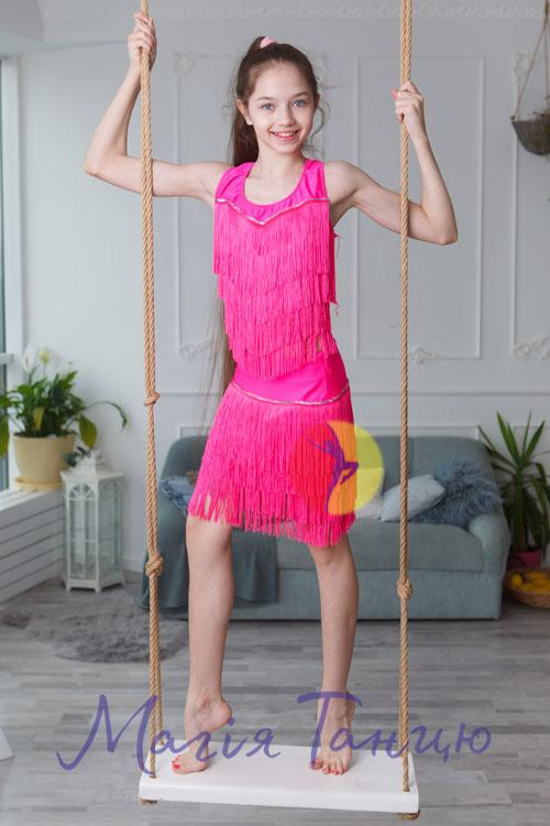 """Костюм для латиноамериканских танцев с бахромой """"Ча-ча-ча"""", Цвет: Голубий, Розмір одягу: р. 32,фото 2"""