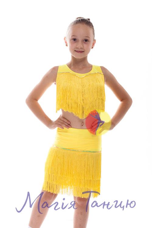 """Костюм для латиноамериканских танцев с бахромой """"Ча-ча-ча"""", Цвет: Голубий, Розмір одягу: р. 32"""