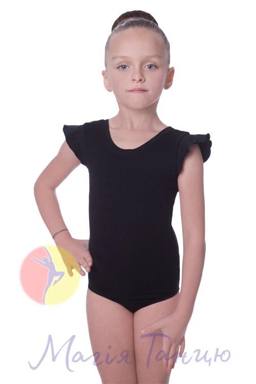 Купальник для танцев хлопковый рукав-крилышко черный, Размер: р. 34/116-122 см