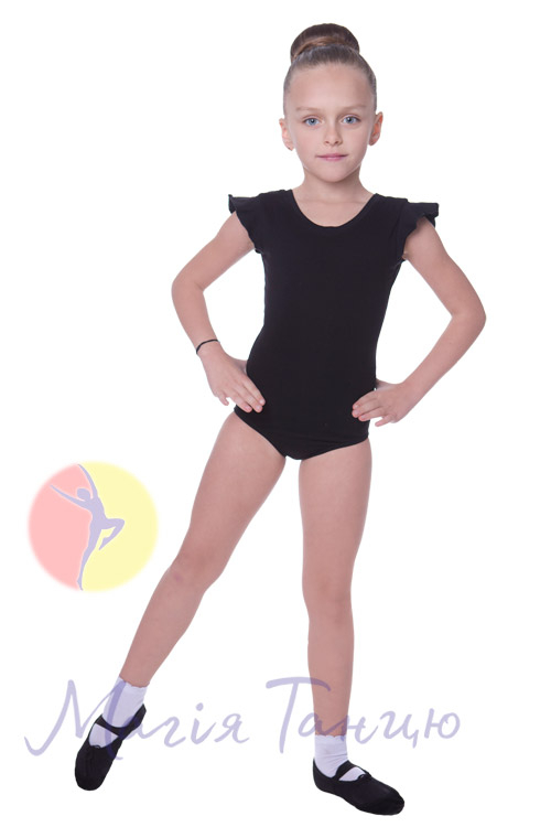 Купальник для танцев хлопковый рукав-крилышко черный, Размер: р. 34/116-122 см,фото 2