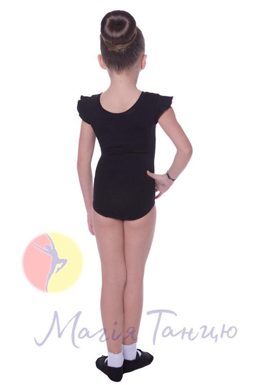 Купальник для танцев хлопковый рукав-крилышко черный, Размер: р. 34/116-122 см,фото 3