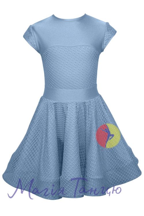 Бейсик (рейтинговое платье для танцев) Аврора с сеткой, Размер: р. 134, Цвет: Голубий
