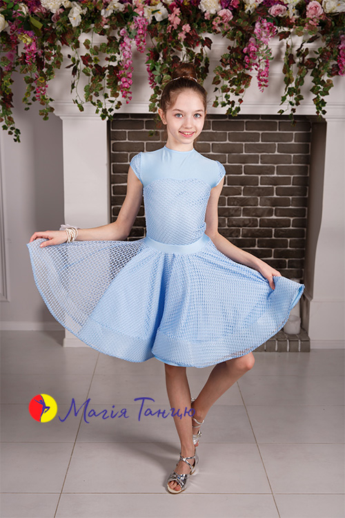 Бейсик (рейтинговое платье для танцев) Аврора с сеткой, Размер: р. 134, Цвет: Голубий,фото 6