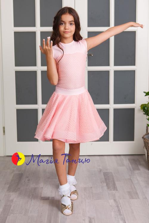 Бейсик (рейтинговое платье для танцев) Аврора с сеткой, Размер: р. 134, Цвет: Голубий,фото 5